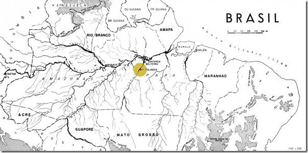 Mapa do Vale do Amazonas, 1953. Fonte: Unasylva (Revista Internacional de Silvicultura e Industrias Forestales), Número: Vol. 7, No. 3. Obs.: As regiões sombreadas mostram áreas com altitudes acimas de 600m. (Grifo sobre Fordlândia nosso).